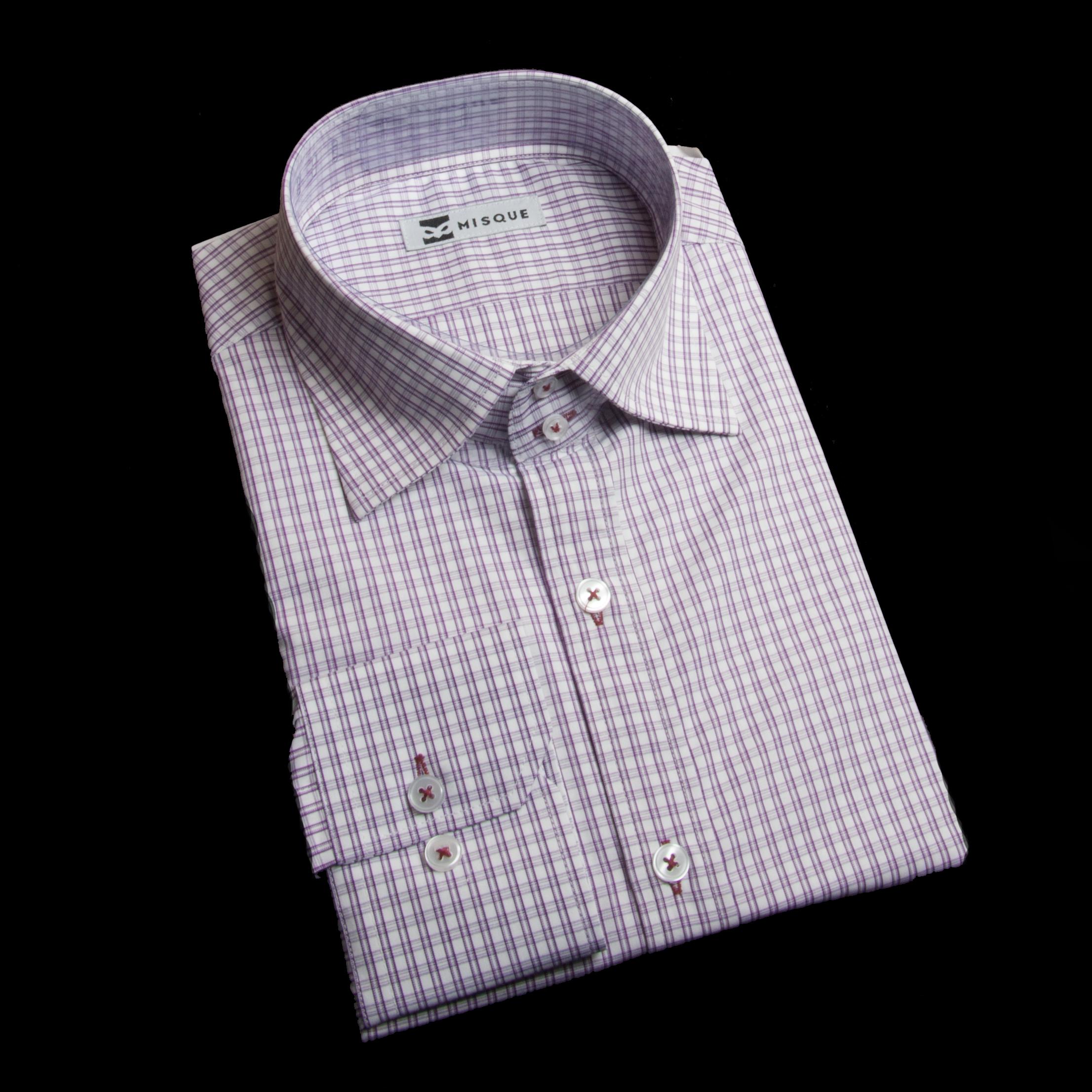 レッドパープルのセミワイドカラーシャツ