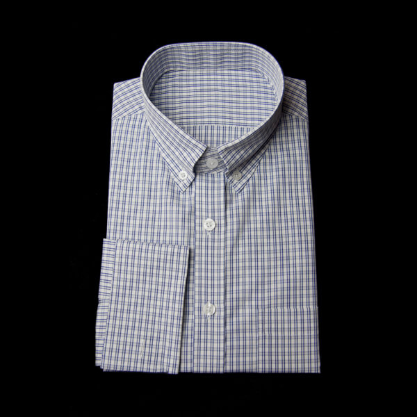 ブルーのツイン格子柄チェックのワイシャツ(ダブルカフス)