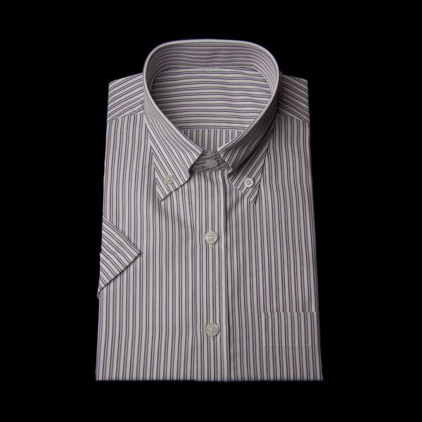 ツイン紫パープルストライプの半袖ワイシャツ(ボタンダウン)