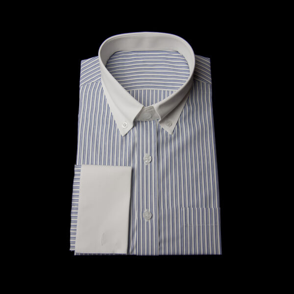 ネイビーツインストライプのクレリックシャツ(ダブルカフス、ボタンダウン)