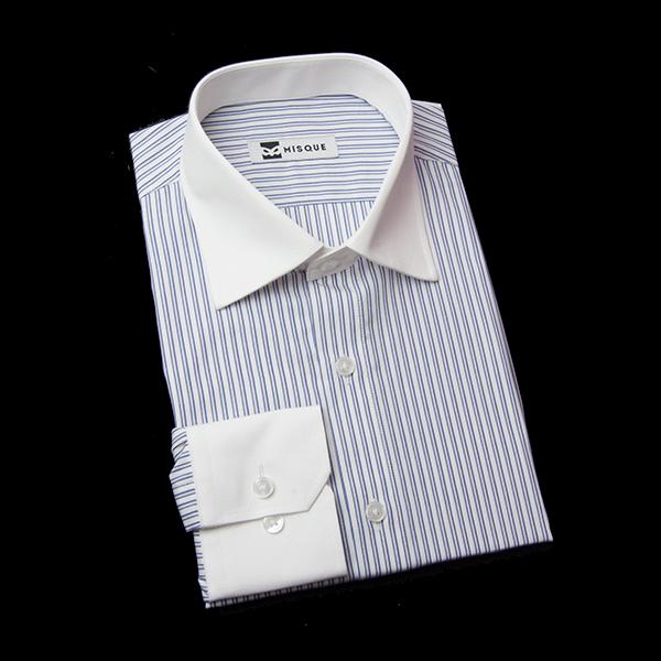 ダブルストライプ(ネイビー)のクレリックシャツ