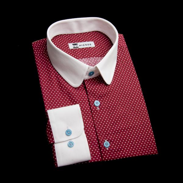 ドット柄ラウンドカラーのクレリックシャツ