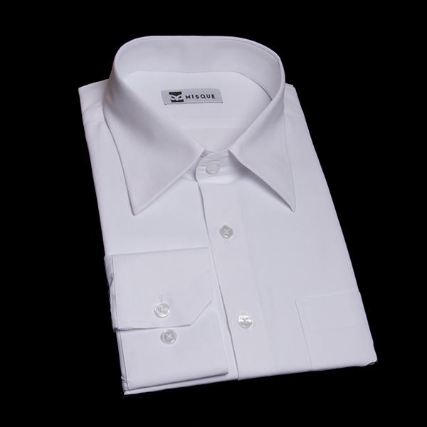 ホワイトの特殊柄 レギュラーカラー レギュラー 角落ち(カットオフ)のワイシャツ