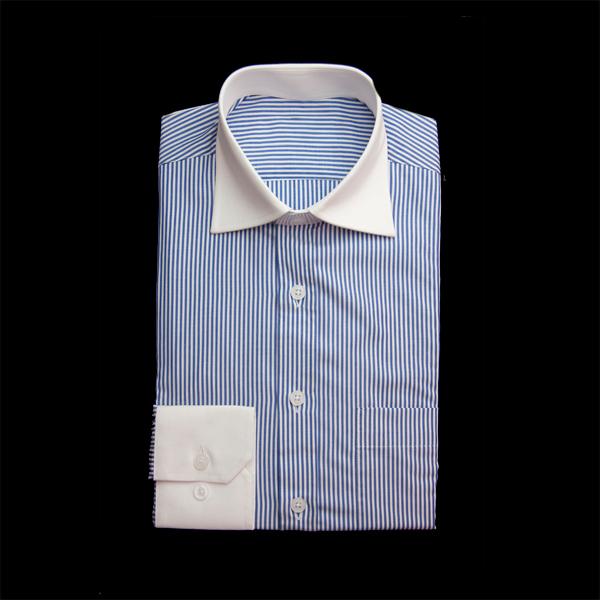 ネイビーストライプのクレリックワイシャツ