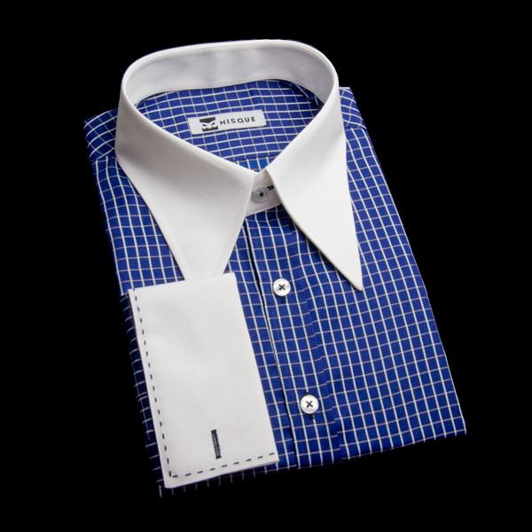 ステッチ入りダブルカフスのロングポイントカラーシャツ(チェック柄ブルー)