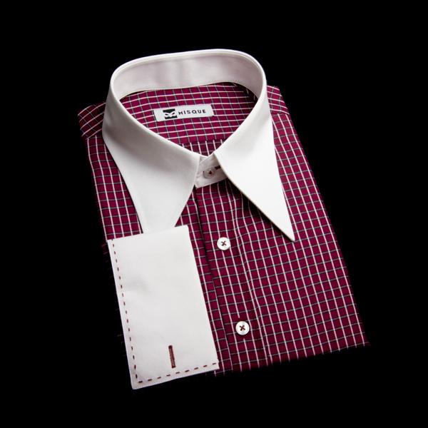 ステッチ入りダブルカフスのロングポイントカラーシャツ(チェック柄レッド)