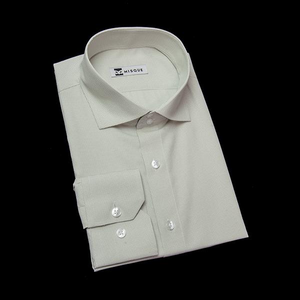 柳色のチェック柄 ワイドカラー ドゥエボットーニ レギュラー 角落ち(カットオフ)のワイシャツ