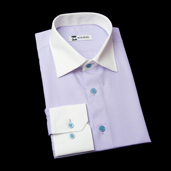 千鳥格子柄(ライトパープル)のクレリックシャツ