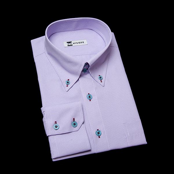 ライトパープルチェックのボタンダウンシャツ