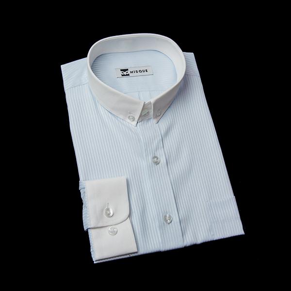 ショートカラー(ライトブルー)のストライプクレリックシャツ