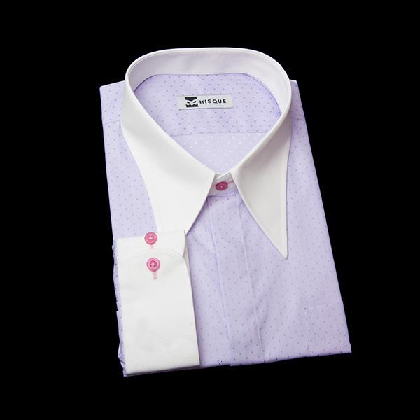 ドット柄(紫)のロングカラーシャツ