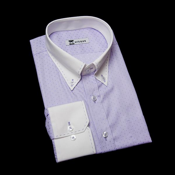 特殊(ブルー)ステッチ付きクレリックシャツ