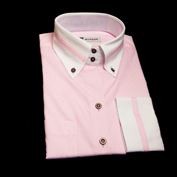 ドット柄ピンクの特殊仕様クレリックシャツ