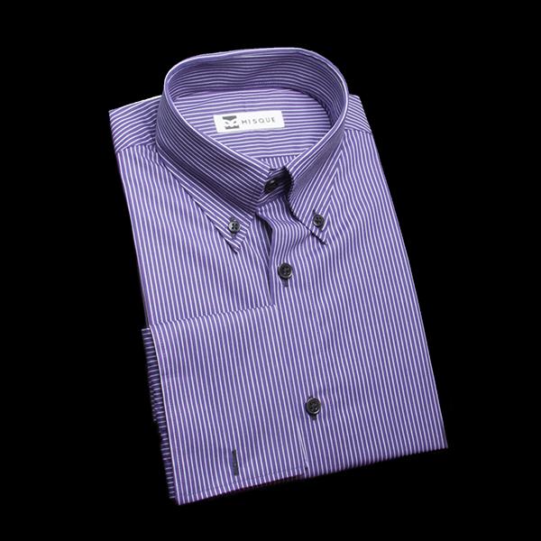 パープルストライプのダブルカフスシャツ