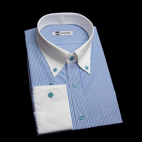 定番のブルーロンドンストライプシャツ