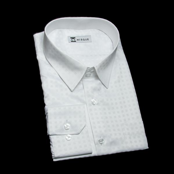 光沢のスクエア柄ホワイトシャツ