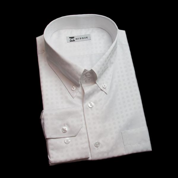 特殊柄光沢のホワイトシャツ
