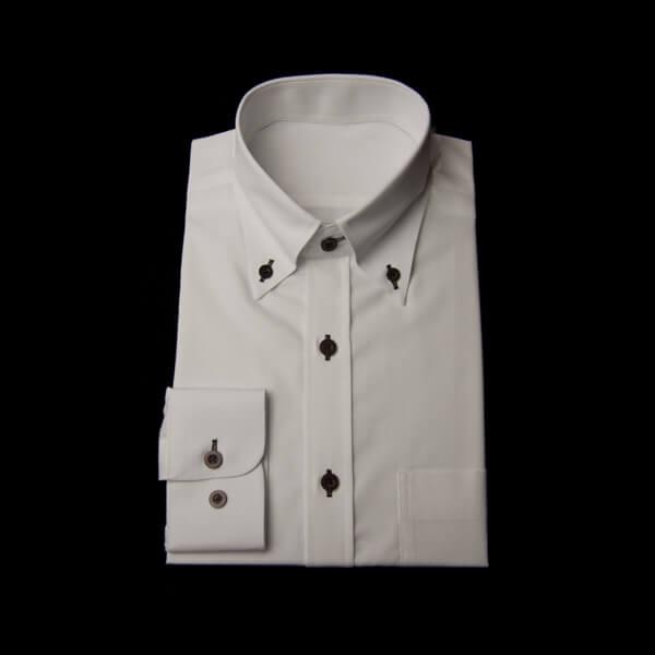 ワイシャツ白のボタンダウン(ブラウン糸、ブラウンボタン)