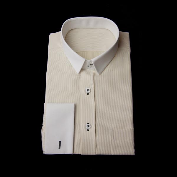 イエローストライプのクレリックシャツ(黒糸、ダブルカフス)