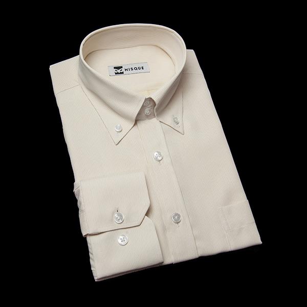 イエローストライプのボタンダウンシャツ