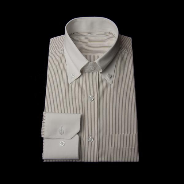 ブラウンストライプのボタンダウンクレリックシャツ