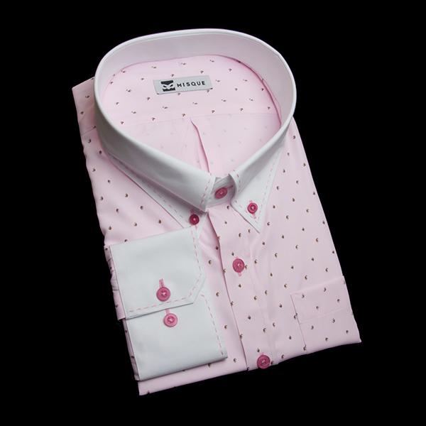 特殊柄ピンクのクレリック&ステッチシャツ