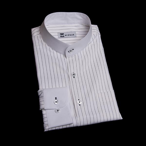パープルストライプのスタンドカラーシャツ