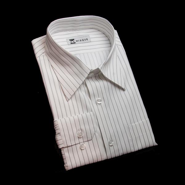 光沢のグレーストライプシャツ