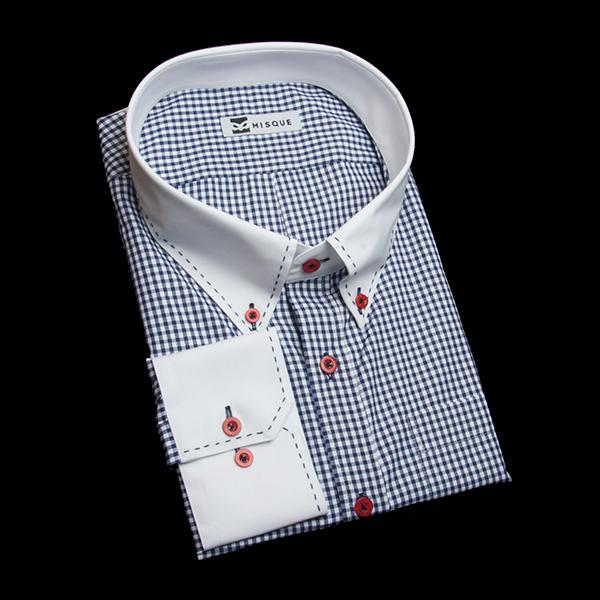 ネイビーのチェック柄 ボタンダウンカラー コンバーチブルカフス 角落ち(カットオフ)のワイシャツ