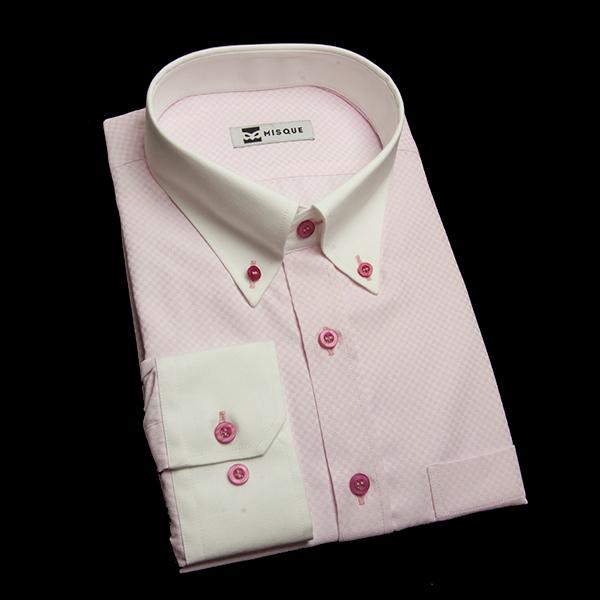 ブロックチェック(ピンク)のクレリックシャツ