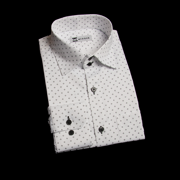 ブラックのクロス柄シャツ