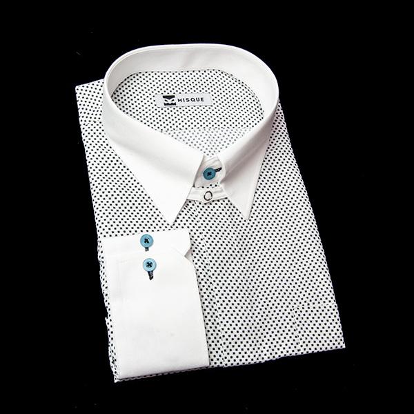 ドット柄(アスタリスク)のタブカラーシャツ