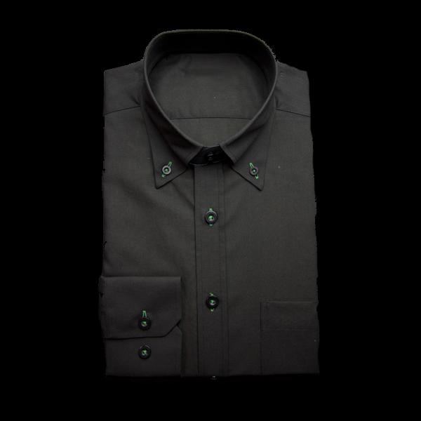 黒にグリーンのアクセントワイシャツ