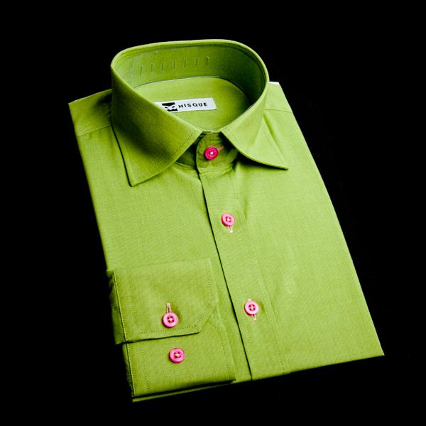 セミワイドカラーのオーダーシャツ