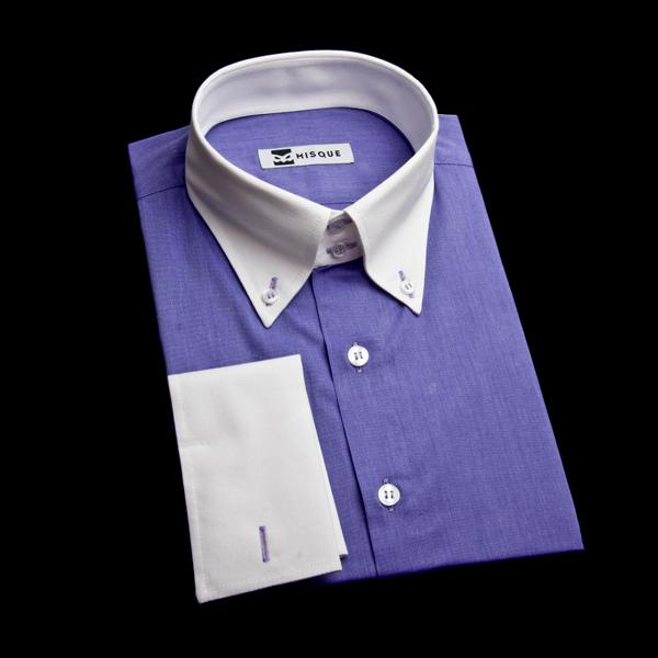 パープル系ダブルカフスのクレリックシャツ