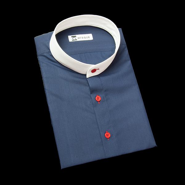 ダークネイビーの無地柄 スタンドカラー 半袖のワイシャツ