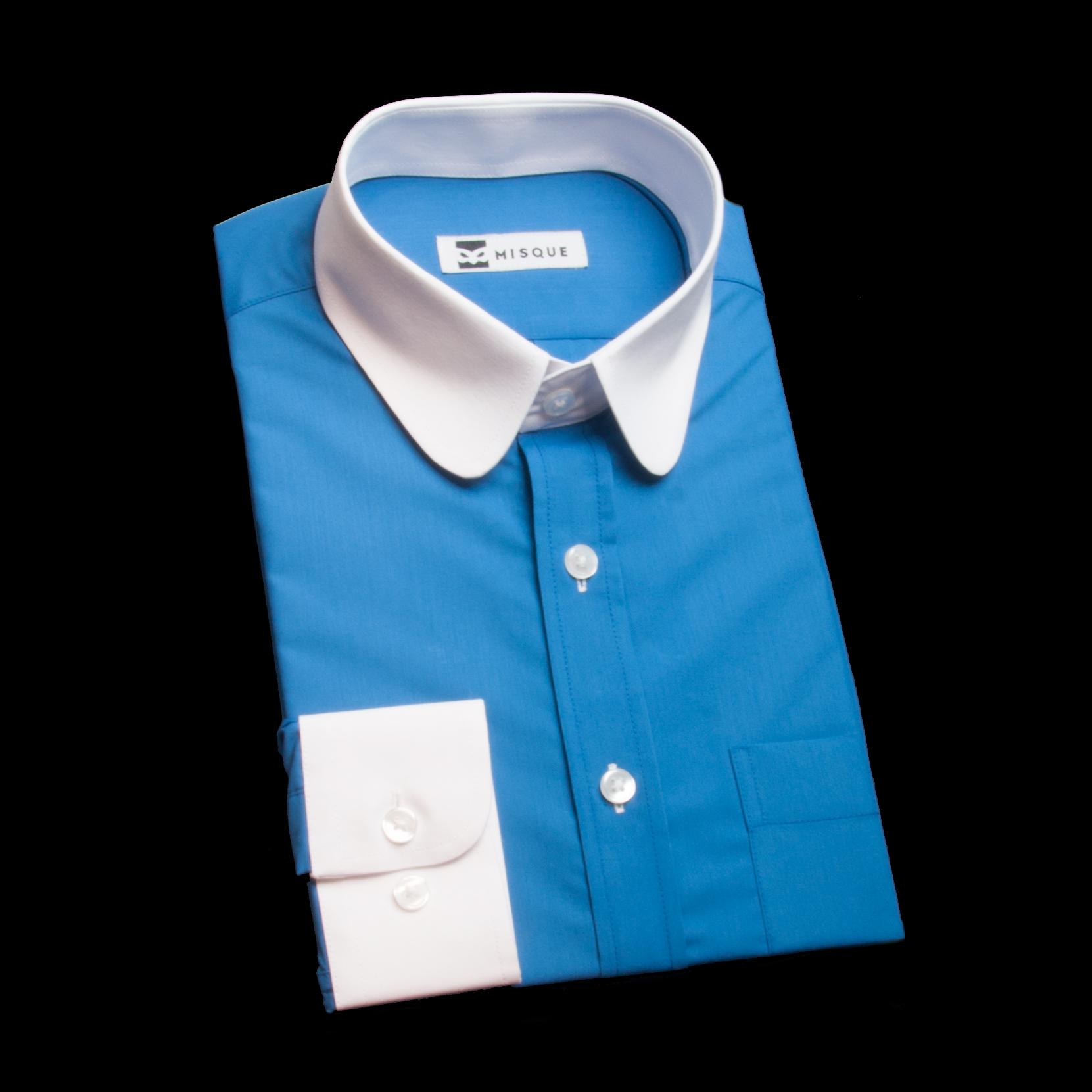 グリーンブルーのクレリックシャツ