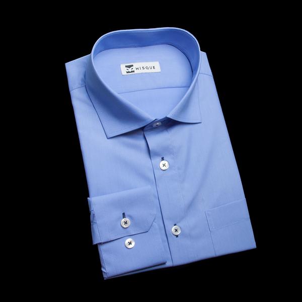 群青色のワイドカラーシャツ