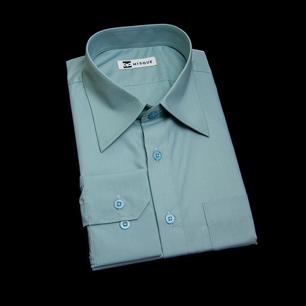 千草色の無地柄 レギュラーカラー レギュラー 角落ち(カットオフ)のワイシャツ