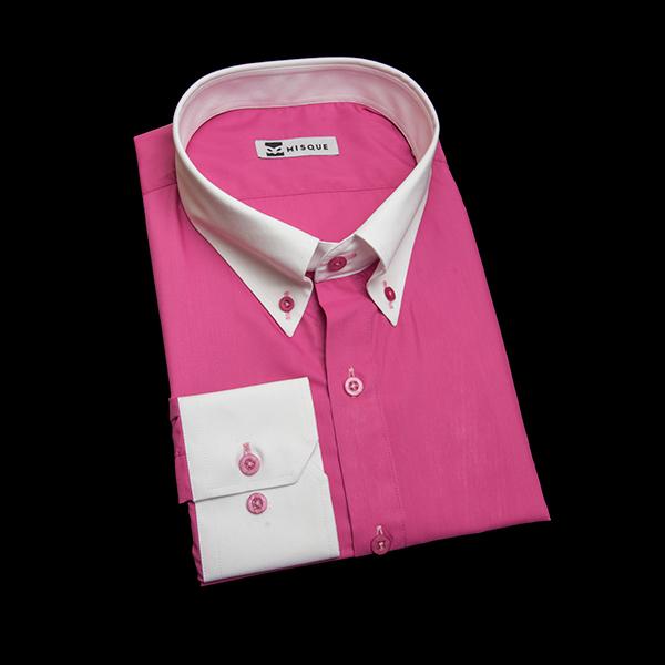 ダークラズベリーの無地柄 ボタンダウンカラー レギュラー 角落ち(カットオフ)のワイシャツ
