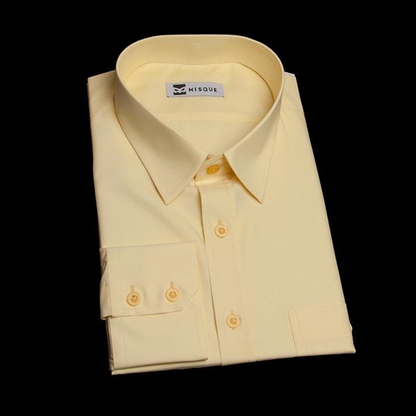 クリームイエローのショートポイントカラーシャツ