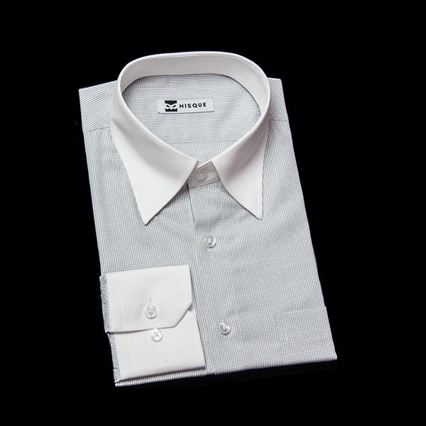 ホワイト / グレーのチェック柄 スナップダウンカラー レギュラー 角落ち(カットオフ)のワイシャツ
