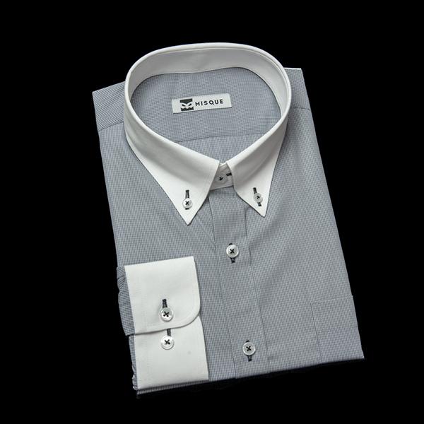 グレーチェックのクレリックシャツ