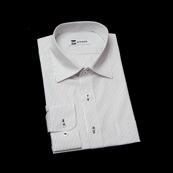 ブラックのストライプ柄 セミワイドカラー レギュラー ラウンドのワイシャツ