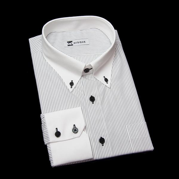 ブラックのストライプ柄 ボタンダウンカラー レギュラー ツーボタン 角落ち(カットオフ)のワイシャツ